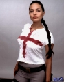 Angelina Jolie with blood cross on her chest