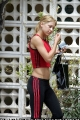 Anna Kournikova black red adidas stripes