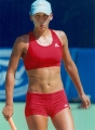 Anna Kournikova in red  sportswear