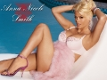 Anna Nicole Smith wearing pink lingerie