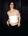Carrie Anne Moss in white shimmy