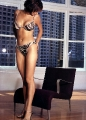 Catherine Bell wearing Zebra style lingerie