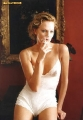Charlize Theron in sexy lingerie is smoking a fag