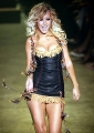 Christina Aguilera wearing hot dress on the catwalk