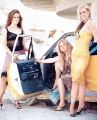 Dixie Chicks posing by the car