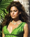 Eva Mendes wearing great green dress with plunging neckline