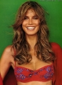 Smiling Heidi Klum wearing bra covered with flowers