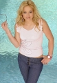 Hilary Duff wearing white shimmy at the swimming pool