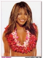 Janet Jackson wearing hawaian flower necklace
