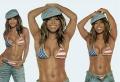 Janet Jackson wearing patriotic bikini
