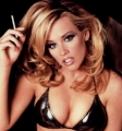 Jenny McCarthy smoking in black leather lingerie