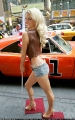 Jessica Simpson by the car