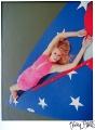 Kristanna Loken posing on American Flag