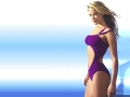 Kristanna Loken posing in violet swimming suite wallpaper