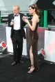 Morgan Webb wearing hot brawn dress