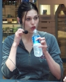 Morgan Webb drinking water