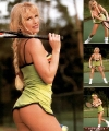 Sable playing tennis in short skirt