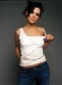 Sandra Bullock posing in sexy white shimmy