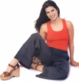 Sandra Bullock wearing red hot shimmy