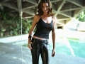 Shannon Elizabeth wearing sexy leather pants and tight hot shimmy
