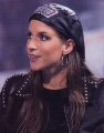 Stephanie McMahon wearing leather jacket