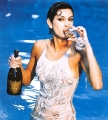 Teri Hatcher drinking Champagne wearing wet hot dress in the pool