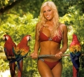 Torrie Wilson wearing hot lingerie posing with parrots