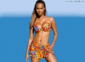Tyra Banks posing in sexy colorful bikini