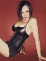 Black leather bustier and panties.