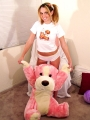 Kinzie Kenner playing with teddy in hot panties