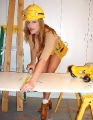 Kelly Madison as a construction worker